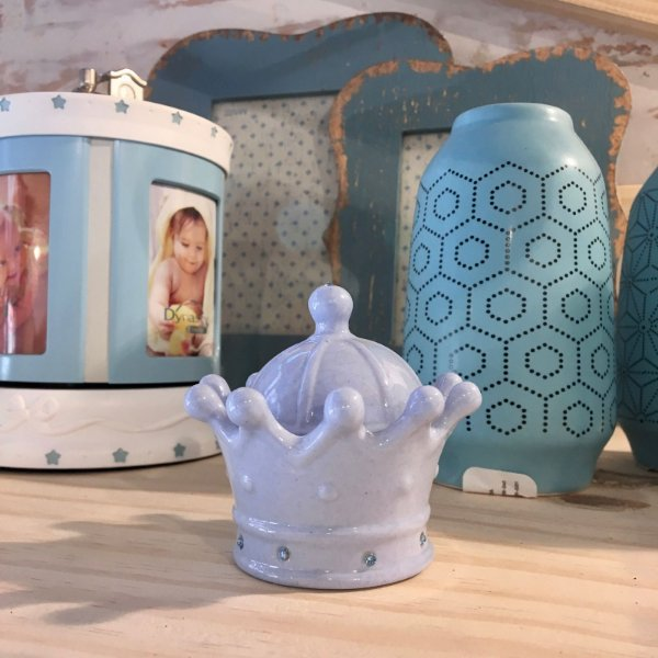 Coroa para decoração em cerâmica - Azul