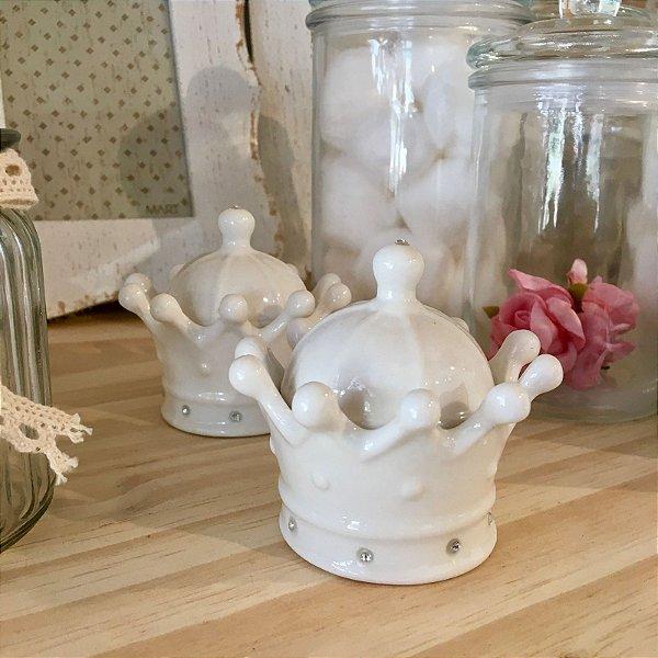 Coroa para decoração em cerâmica - Branca