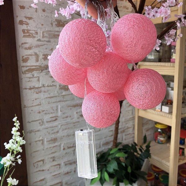 Cordão de bolinhas decorativas com LED - Algodão doce