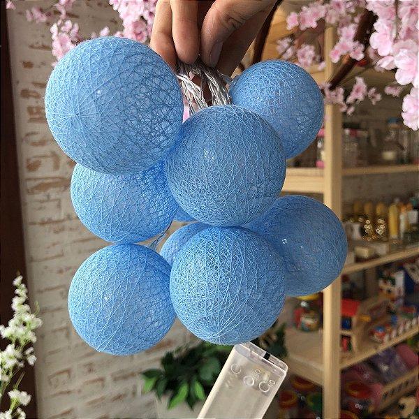 Cordão de bolinhas decorativas com LED - Azul celeste