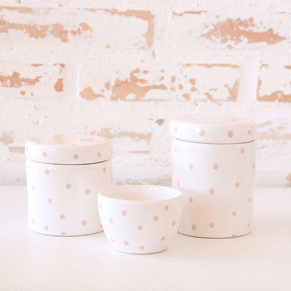 Kit de higiene em cerâmica 3 peças - Branco com poá Rosa