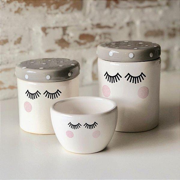 Kit de higiene em cerâmica 3 peças - Cílios - Cinza com poá