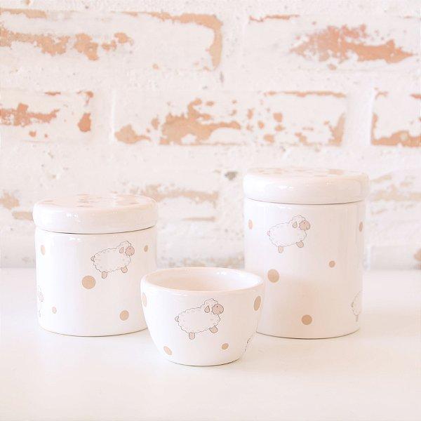 Kit de higiene em cerâmica 3 peças - Carneiro bege