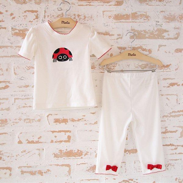 Camiseta Manga Curta + Calça com Laço Vermelho - Joaninha