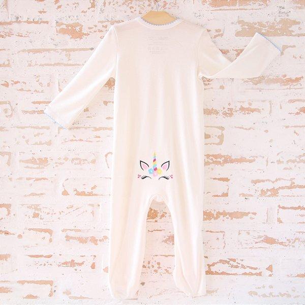 Pijama Orgânico Com Pezinho - Bordado Unicórnio