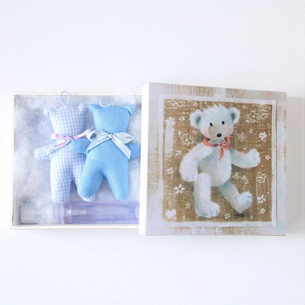 Caixinha com Sachês de Perfume - Teddy Azul