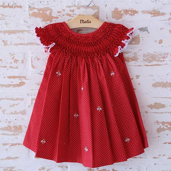 Vestido Casinha de Abelha - Vermelho Poá
