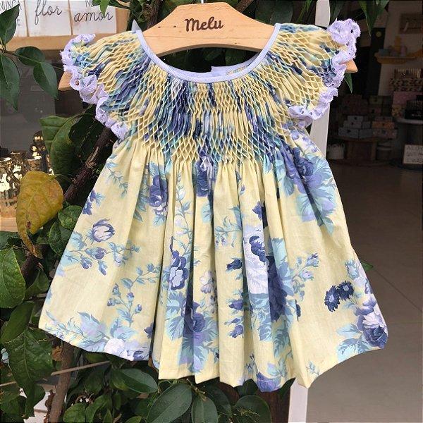 Vestido Casinha de Abelha - Amarelo com flores azuis