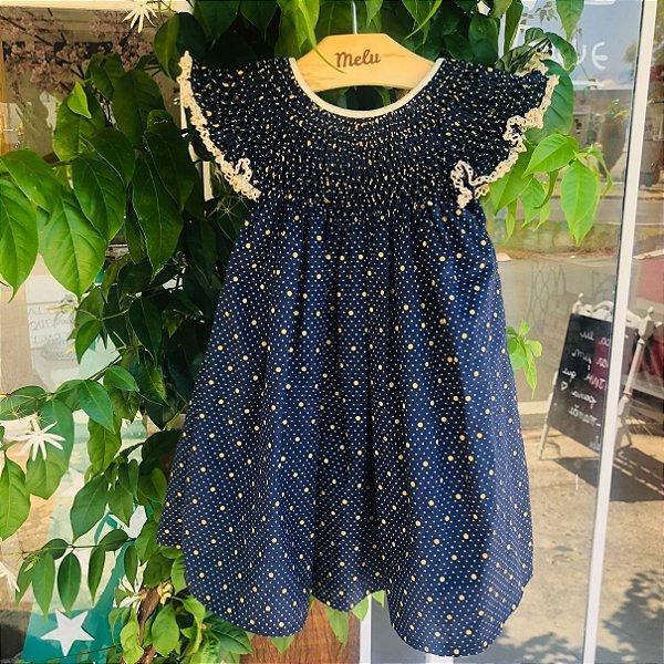 Vestido Casinha de Abelha - Azul com poá dourado
