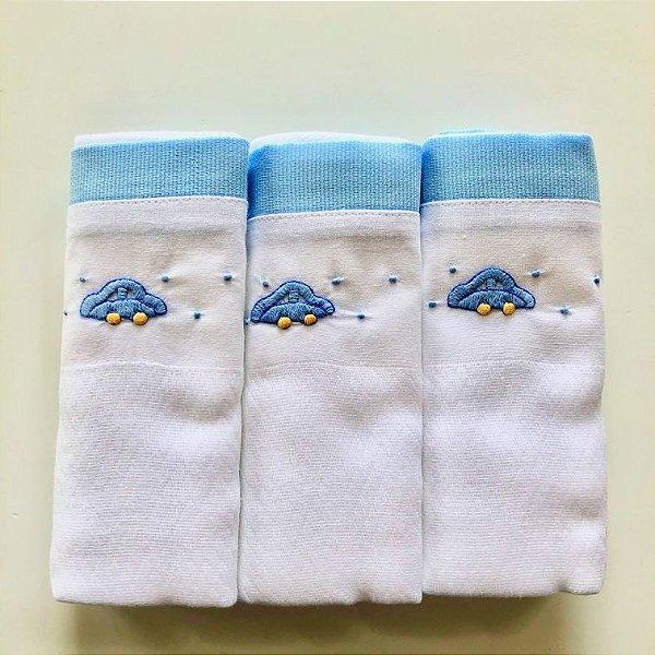 Kit com 3 fraldas bordadas à mão - fusca azul
