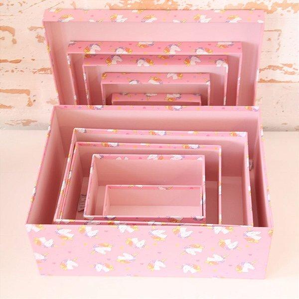 Caixa de Presente - retangular baixa de Unicórnio (1 unidade 23 x 35 x 6cm)
