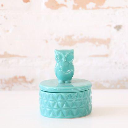 Porta jóia em porcelana - Coruja
