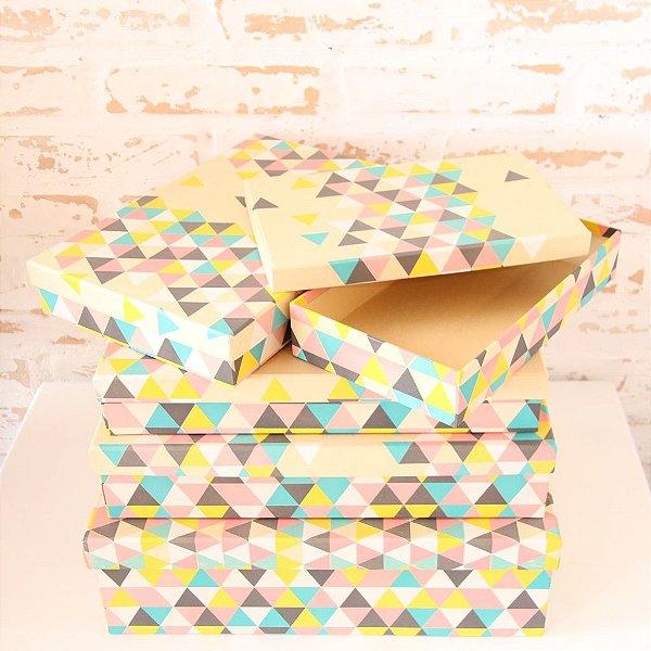 Caixa de Presente - retangular baixa Kraft Triângulo Colorido (1 unidade 23 x 35 x 6cm)