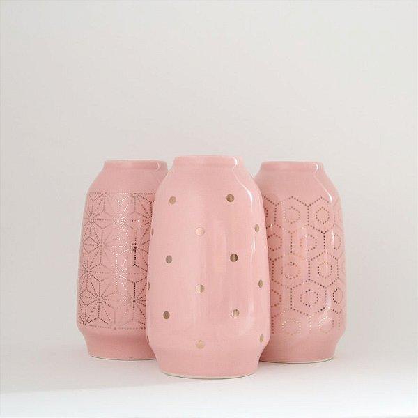 Mini vasos em cerâmica - rosa