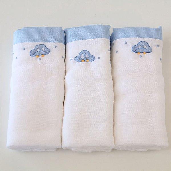 Kit com 3 fraldas - carrinho - barrado azul