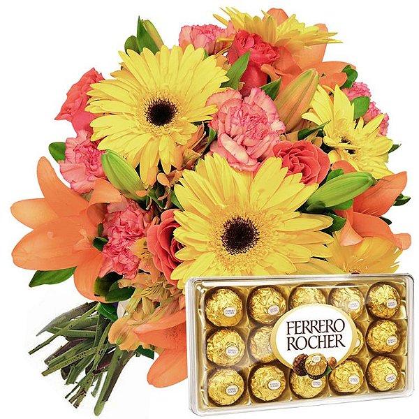 Buquê de Flores do Campo com Ferrero Rocher