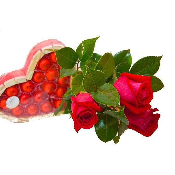 Trio de Rosas com Coração