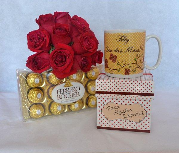 Buque de Rosas + caneca especial Dia das Mães + Ferrero Rocher
