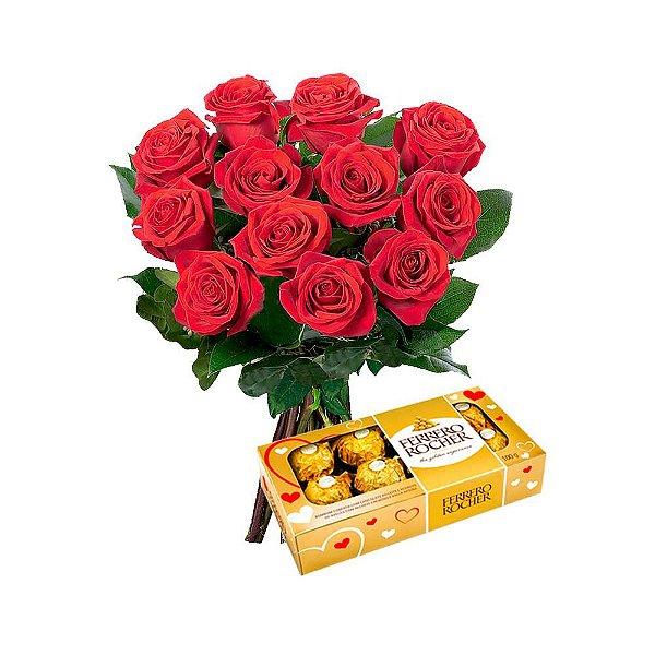 Buquê com 12 Rosas + Ferrero Rocher 100 Gramas