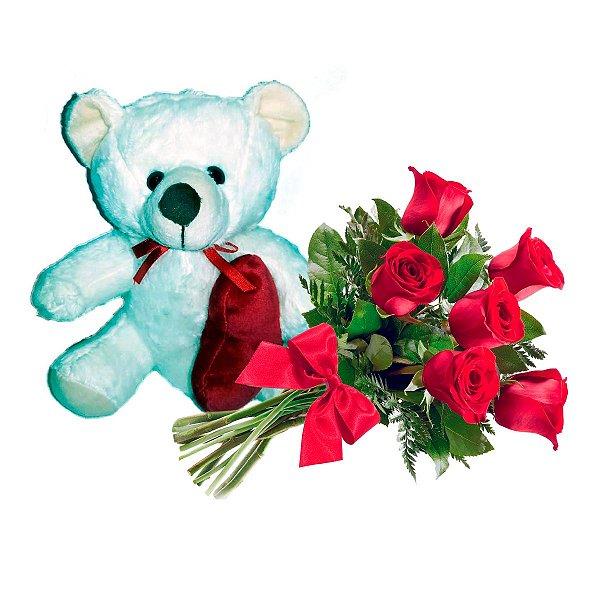 Buquê com 06 Rosas Vermelhas + Ursinho Apaixonado