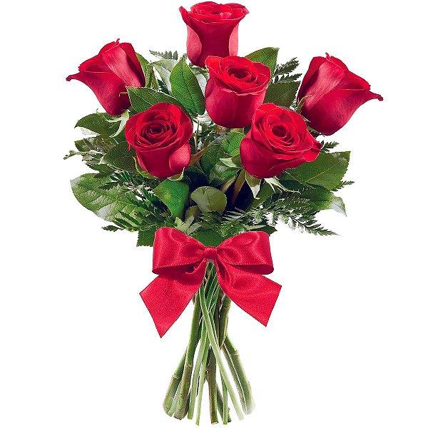 Buquê com 06 Rosas Vermelhas