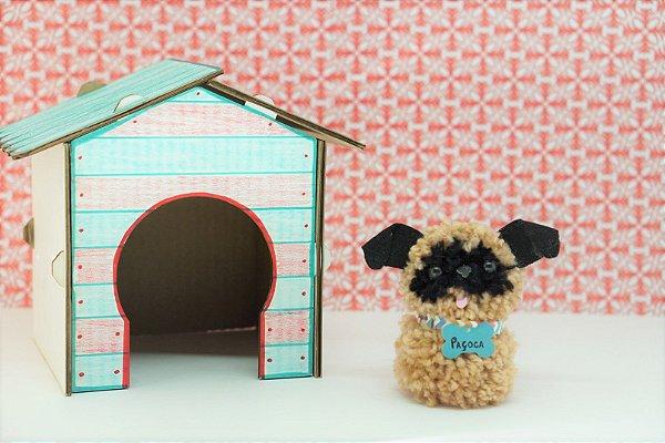 Cachorrinho de Pompom e sua Casinha - PUG