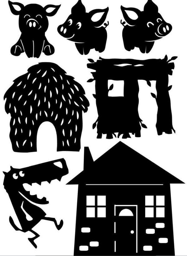 Os 3 Porquinhos - personagens para Teatro de Sombras
