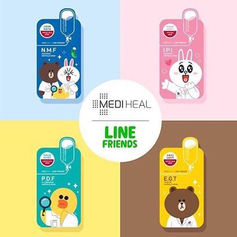 Máscara Facial Coreana MEDIHEAL Line Friends - Edição Limitada 27ml
