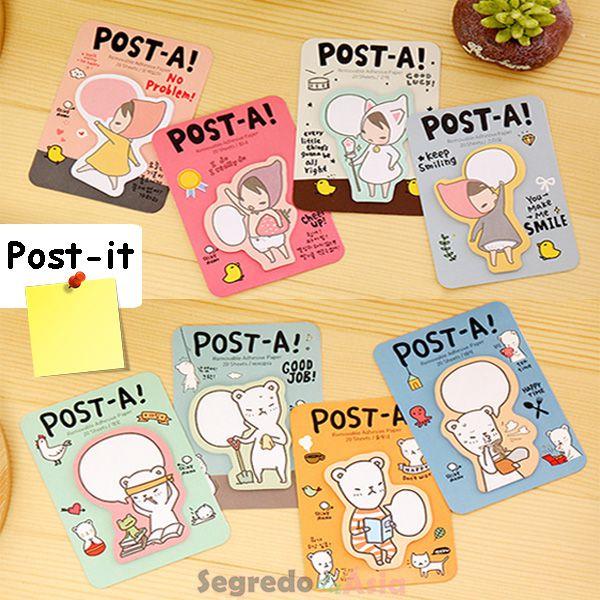 Post Coreano Adesivo Marcador Colorido Personagens 20 Folhas