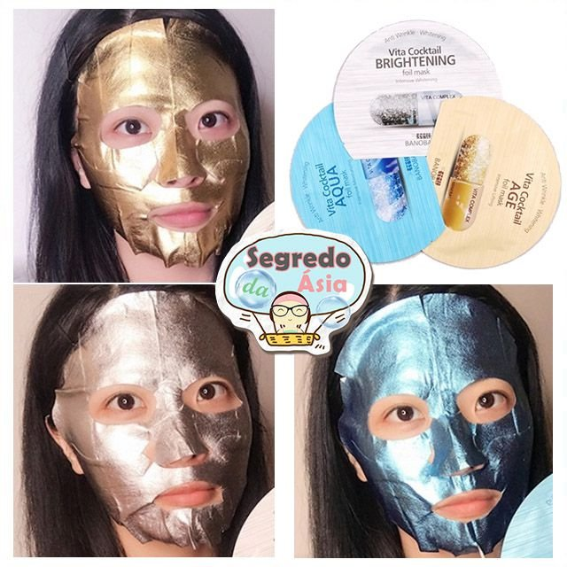 Máscara Facial Coreana Folha de Estanho Anti Rugas BANOBAGI Vita Cocktail Foil Mask 30ml