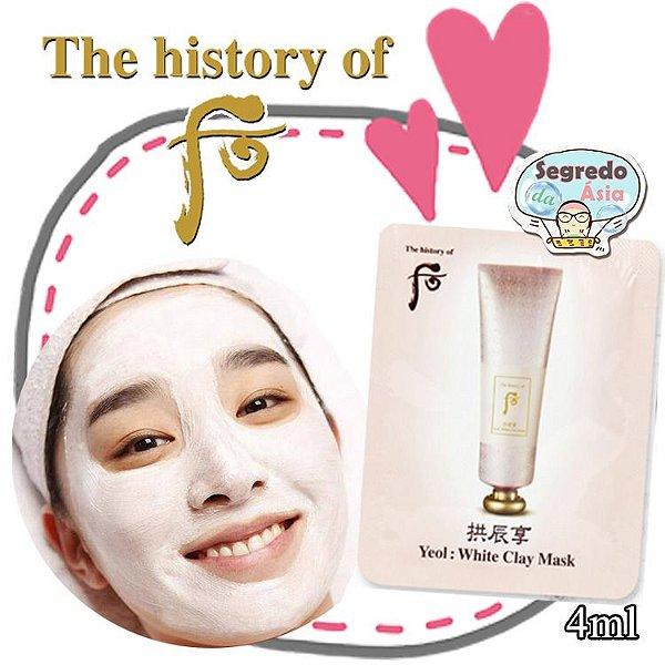 Máscara Facial Coreana Argila Branca Clareia Reduz Poros The History of Whoo Gongjinhyang Yeol White Clay Mask 4ml