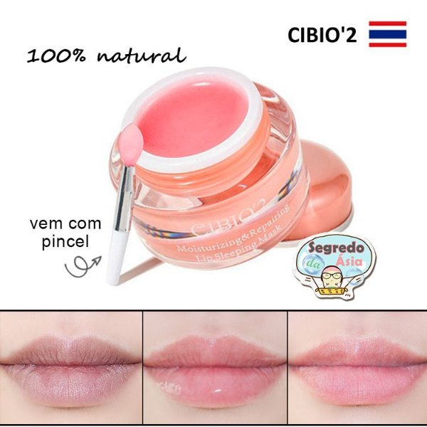 Máscara Labial CIBIO'2 Moisturizing & Repairing Lip Sleeping Mask Com Pincel 15g
