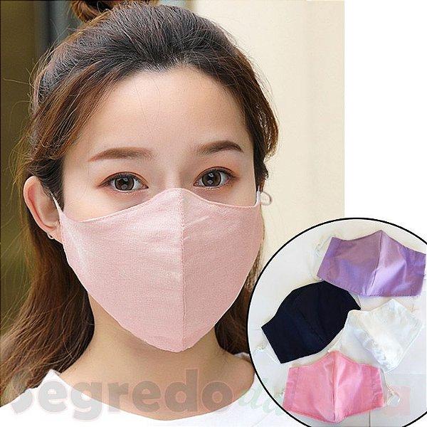 Máscara De Proteção Tecido Tricoline Dupla Camada Anatômica Reutilizável Unissex Com Elástico Ajustável