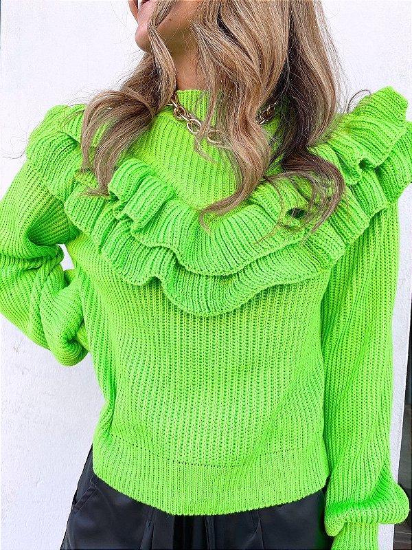 Blusa Babadeira Tricot Verde