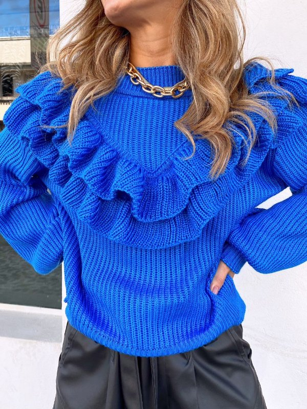 Blusa Babadeira Tricot Azul