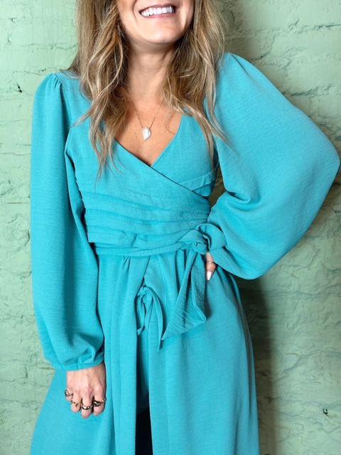 Blusa Vestido Jasmin Agua Marinha