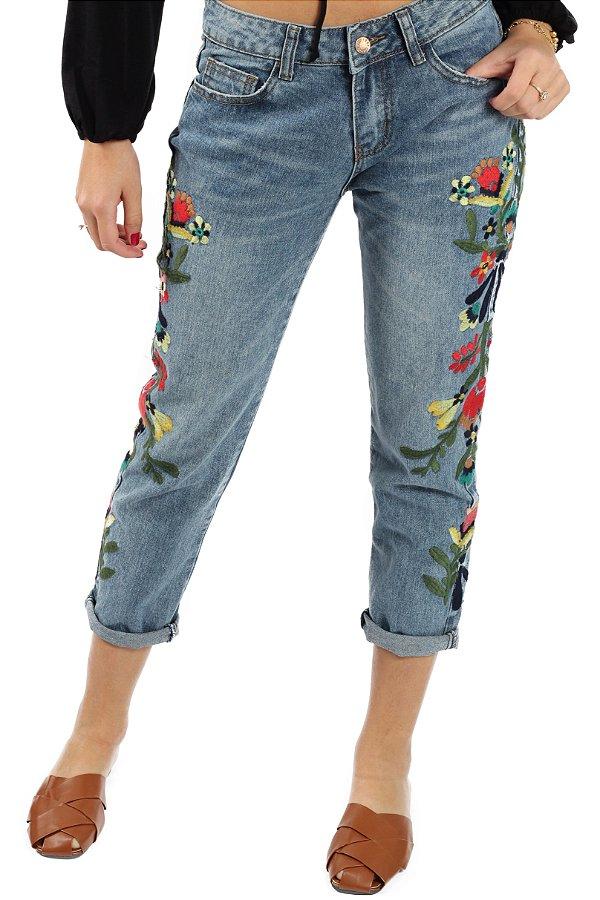 Calça Jeans Floral