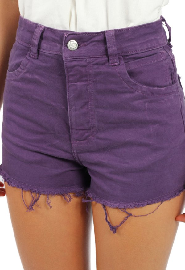 Shorts Hot Pant Sarjado Roxo