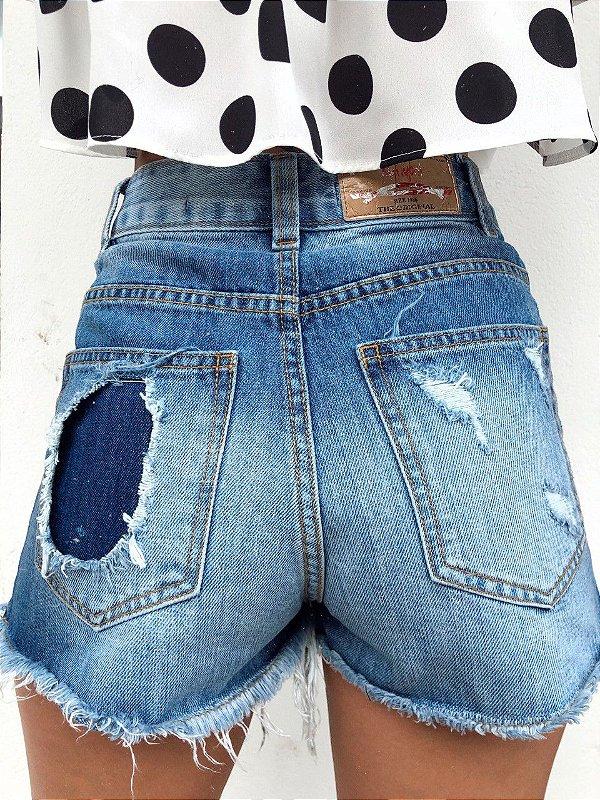Shorts Hot Double Denim Destroyed