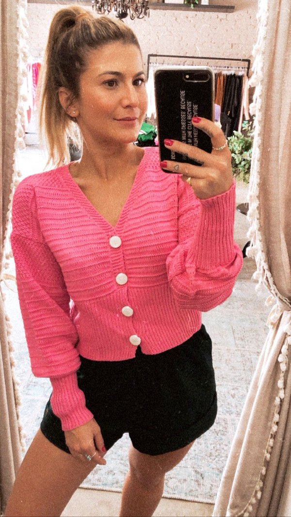 Cardigan Tricot Candy Rosa