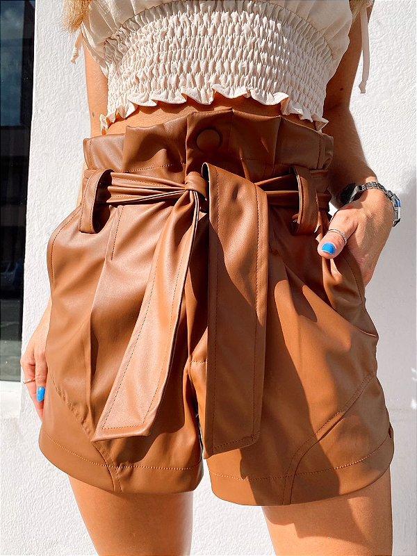 Shorts Leona Couro Chocolate