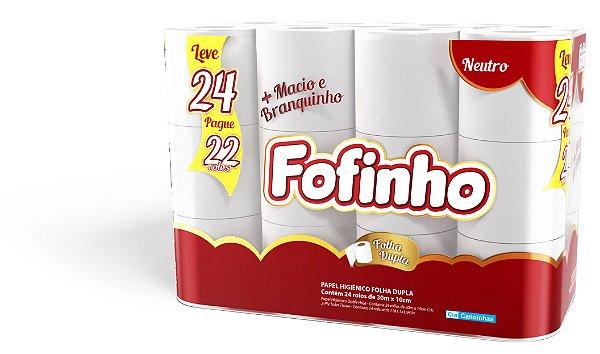 Fofinho Fardo Papel Higiênico Folha Dupla 30 m c/ 24 rolos