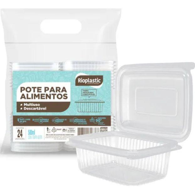 Rioplastic Potes Retangular 500 ml c/ 25 un.