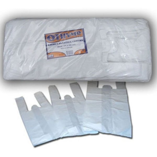 Othymo Sacola plástica branca 38 x 48 c/ 1000 un.