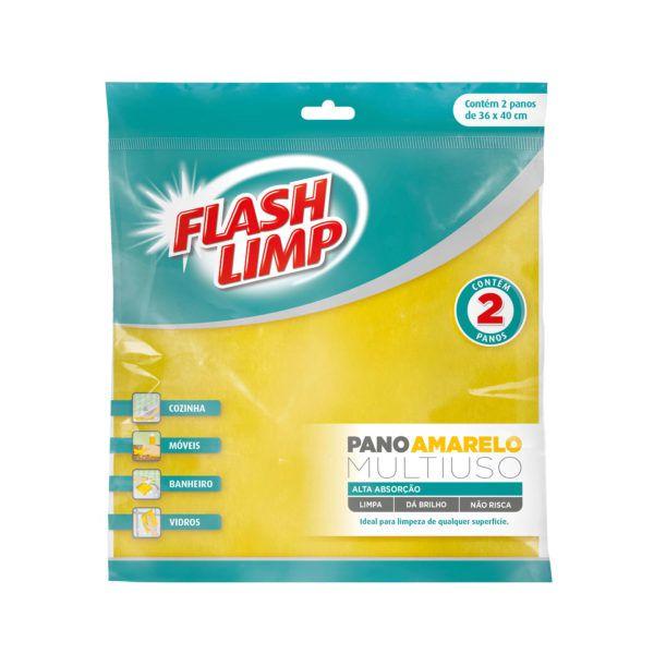 Flash Limp Pano Multiuso Amarelo c/ 2 un.