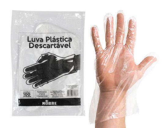 Nobre Luva Plástica Descartável c/ 100