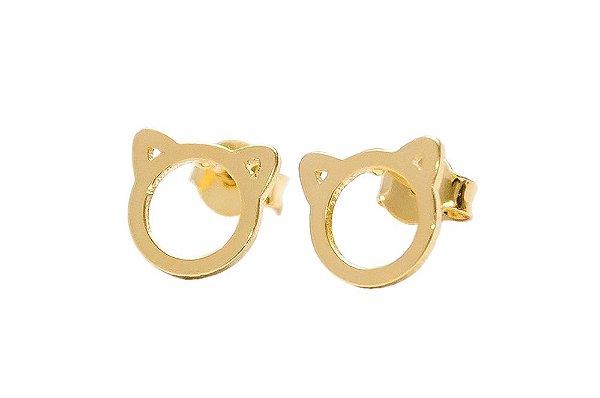 Brinco Orelha de Gatinho - Folheado em ouro 18k ou ródio branco