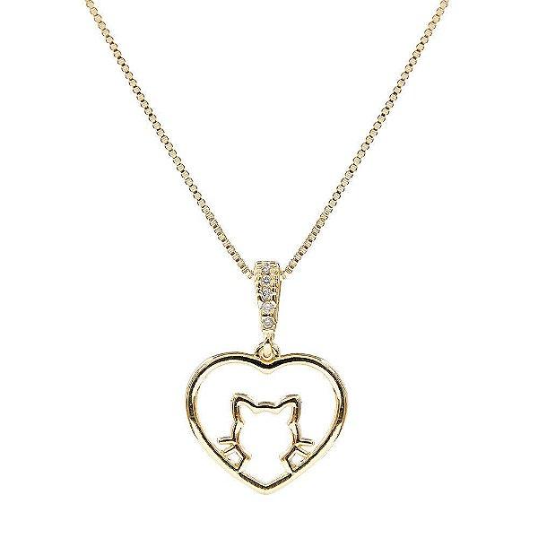 Colar Coração Gatinho - Folheado em Ouro 18k ou Ródio Branco