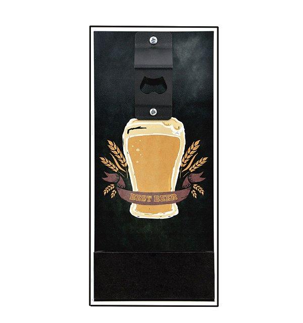 Quadro abridor com porta tampinhas - Best beer