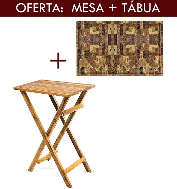 Mesa de Madeira Para Churrasco + Tabua de Carne